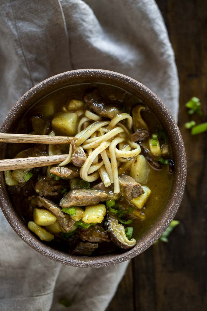 Curry Udon Noodles with Beef